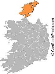 Map - Ireland, Donegal - Map of Ireland with the provinces,...