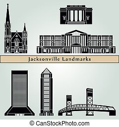 Jacksonville landmarks and monuments isolated on blue...