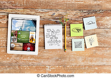close up of notebook, stickers and tablet pc - business,...