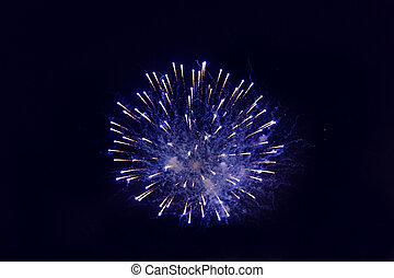 beautiful fireworks at night sky - holidays, celebration,...
