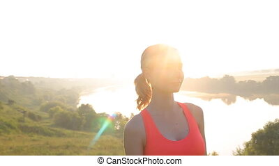 Healthy Active Lifestyle. Young Attractive Jogger Woman Listening to Music.