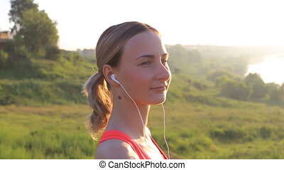 Healthy Active Lifestyle. Young Attractive Jogger Woman...