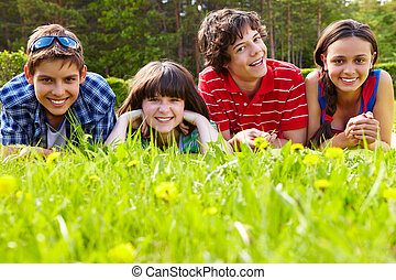 Friends on grass