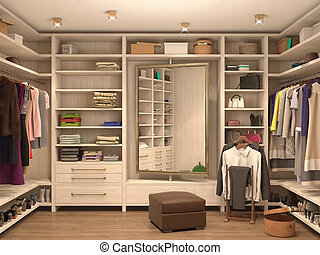white, dressing room, interior of a modern house. 3d...