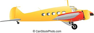 Veteran Airliner - A Yellow and Red Veteran Airliner...