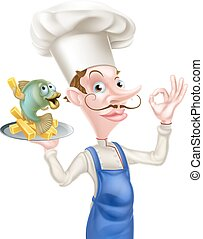 Cartoon Chef With Fish and Chips - An Illustration of a...