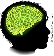 Electrical Circuit Brain Child Concept - Silhouette of a...