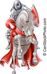 Jousting Knight on White Horse