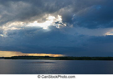 Lake Kenozero .Evening storm over the water. Arkhangelsk...