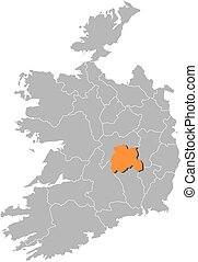 Map - Ireland, Laois - Map of Ireland with the provinces,...