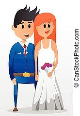 Wedding couple vector cartoon
