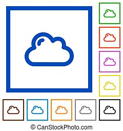 Cloud framed flat icons - Set of color square framed cloud...