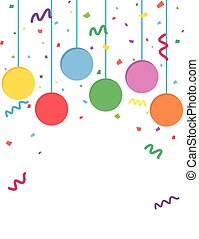 Confetti and balloons party flyer