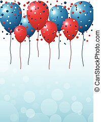 Red and blue balloons background