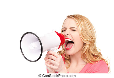 woman with megaphone - picture of woman with megaphone over...
