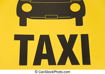 taxi sign - german yellow taxi sign with symbolic car