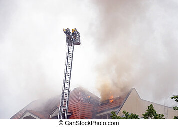 firemen ladder - german fire fighters with aerial ladder
