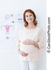 Steps of in vitro fertilization - Smiling middle aged woman...
