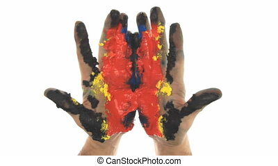 hand paint colors - two painted colorful hands against white...