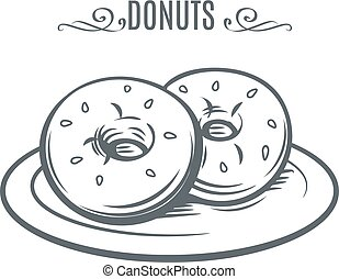 Hand drawn donuts. Decorative icon with donuts. Ink Vector...