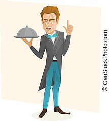Waiter with a tray. Cartoon waiter holds dish. Vector...