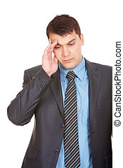 Fatigue male - Portrait of smart man touching his forehead...