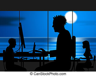 Working Late Indicates Workplace Office And Night - Working...