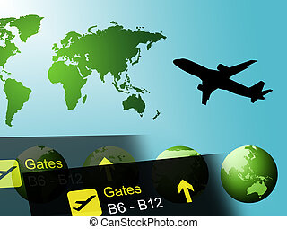 World Travel Represents Globalization And Touring Countries...