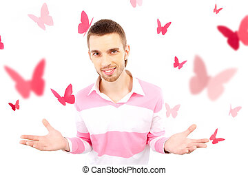 Guy with butterflies