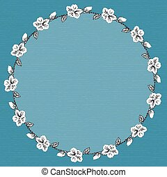 round frame with hibiscus flowers. Vector illustration.