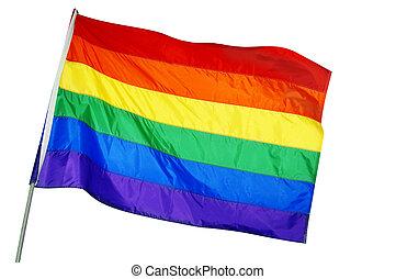 rainbow flag - a rainbow flag waving on a white background