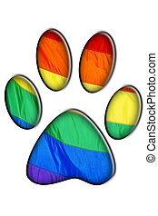 gay bear - a bear footprint with rainbow flag symbolizing...