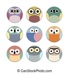 Vector set of round app icons cute owls