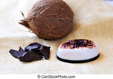 handmade soap with addition of coconut and chocolate