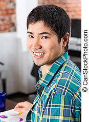 Asian man face, casual businessman office smile