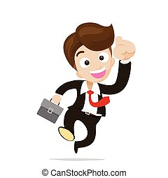 Businessman jumping with joy on the white background