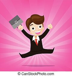 Businessman jumping with joy on sunburst pink background