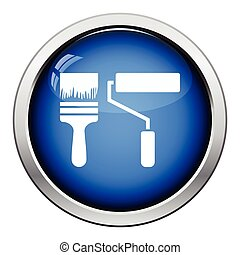 Icon of construction paint brushes. Glossy button design....