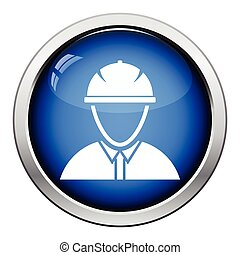 Icon of construction worker head in helmet
