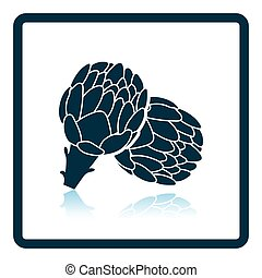 Artichoke icon. Shadow reflection design. Vector...