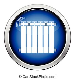 Icon of Radiator Glossy button design Vector illustration