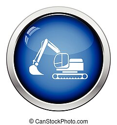 Icon of construction excavator Glossy button design Vector...