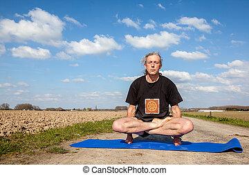 Enjoy Lotus Pose yoga in Nature