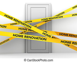 home renovation - 3d illustration of door and 'home...