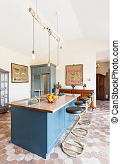 Kitchen island in the middle of vintage sea