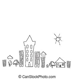 doodle town draw with sun collection set of drawing...