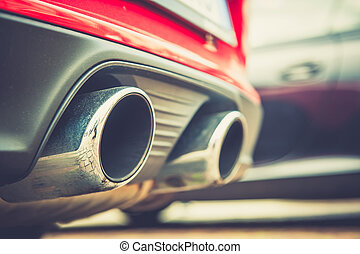 Car exhaust pipe - Close up of a car dual exhaust pipe