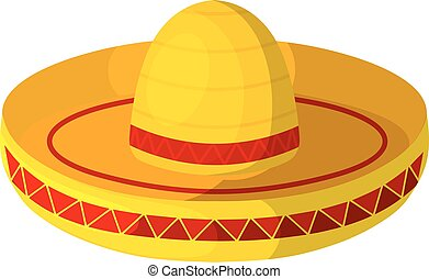Colored Cartoon sombrero on a white background. Isolate. Wide-brimmed hat - element of