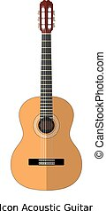 Icon simple acoustic guitar on a white background. Sign of music, musical instrument. Stock