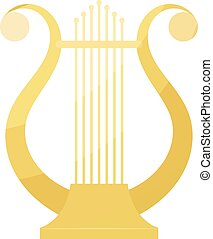 Vector cartoon image of vintage Lyre on a white background. Ancient Greek music string